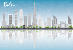Dubai City skyline with grey skyscrapers, blue sky and reflectio Stock Photo