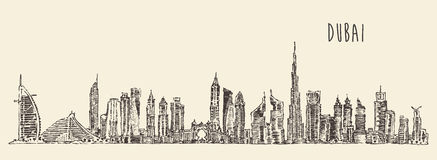 Dubai City Skyline Hand Drawn, Engraved Vector Stock Image