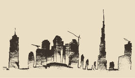 Dubai City Skyline Hand Drawn, Engraved Vector Royalty Free Stock Images