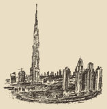 Dubai City Skyline Hand Drawn, Engraved Vector Royalty Free Stock Photos