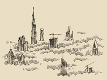 Dubai City Skyline Hand Drawn, Engraved Vector Stock Photo