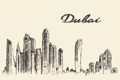 Dubai City skyline Hand drawn vector illustration Royalty Free Stock Photos