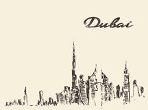 Dubai City skyline Hand drawn vector illustration Royalty Free Stock Images