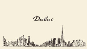 Dubai City skyline Hand drawn vector illustration Stock Photo