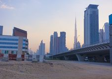 Dubai city skyline. In the morning royalty free stock image
