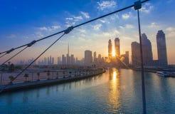 Dubai city skyline in the morning. Sunrise royalty free stock image