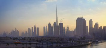 Dubai city skyline in the morning. Sunrise royalty free stock images
