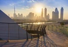 Dubai city skyline in the morning. Sunrise stock photography