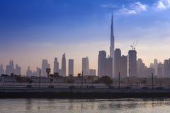 Dubai city skyline in the morning. Sunrise stock photo