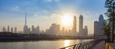 Dubai city skyline in the morning. Sunrise royalty free stock photography