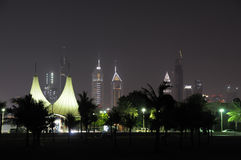 Dubai City Skyline at night. Jumeirah Beach Park in the Foreground. United Arab Emirates royalty free stock photo