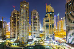 Dubai city skyline at night. Skyscrappers in Dubai city at night Stock Photos