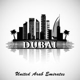 Dubai City skyline with reflection. Typographic Design Stock Photos