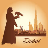 Dubai city skyline silhouette background. Illustration Royalty Free Stock Images
