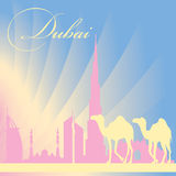 Dubai city skyline silhouette background. Illustration Royalty Free Stock Photography
