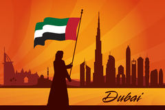 Dubai city skyline silhouette background Royalty Free Stock Image