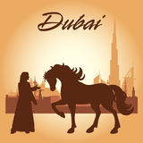 Dubai city skyline silhouette background. Vector illustration Royalty Free Stock Photo