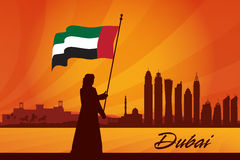 Dubai city skyline silhouette background Royalty Free Stock Photography