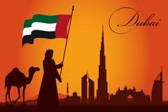 Dubai city skyline silhouette background. Vector illustration Stock Illustration
