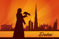 Dubai city skyline silhouette background Stock Image