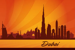 Dubai city skyline silhouette background Stock Photos
