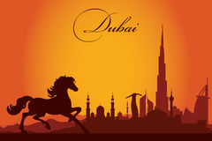 Dubai city skyline silhouette background. Vector illustration Royalty Free Stock Images