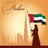 Dubai city skyline silhouette background Stock Photos