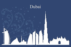 Dubai city skyline silhouette on blue background Stock Photo
