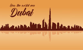 Dubai city skyline silhouette with brown backgrounds Royalty Free Stock Images