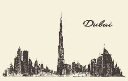 Dubai City skyline silhouette drawn vector. Royalty Free Stock Photography