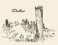Dubai City skyline silhouette drawn vector. Stock Image