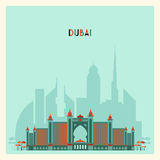 Dubai City skyline Silhouette. Flat Trendy Design. Royalty Free Stock Photos
