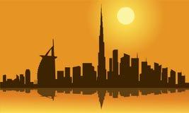 Dubai city skyline silhouette royalty free illustration