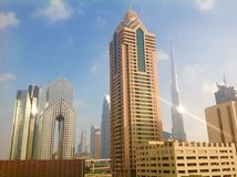 Dubai city skyline. Skyscraper skyline of the city of Dubai, United Arab Emirates Stock Photography