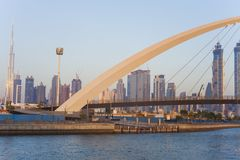Dubai city skyline at sunset. View of Tolerance bridge stock images