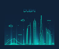 Dubai City skyline Trendy vector line art Stock Photo
