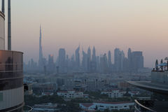 Dubai city skyline. Dubai, United Arab Emirates - October 17, 2014: Photograph of the city skyline Royalty Free Stock Photo