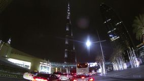 Dubai  city street view from car stock footage