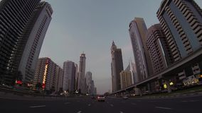 Dubai  city street view from car stock video footage