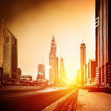 Dubai city in sunset Royalty Free Stock Photography