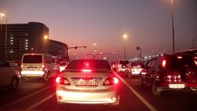 Dubai city traffic at night crossroad. United Arab Emirates stock footage
