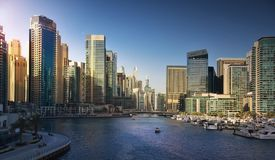 Dubai Marina at sunset. Dubai city, travel destination. UAE Royalty Free Stock Photography