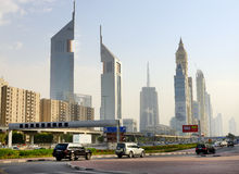 The Dubai cityscape and Emirates towers Stock Photos