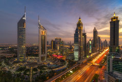 Dubai cityscape. Sheikh zayed road view from roof sky was really awesome with ful of colors specially emirates towers looks amazing Stock Photos