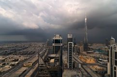 Dubai cityscape. This shot was capture during storm in dubai with epic clouds and thunderstorms Royalty Free Stock Photography