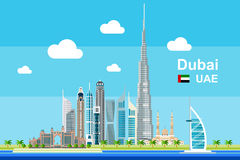 Dubai Cityscape. Simple flat-style illustration of Dubai city in United Arab Emirates and its landmarks. Famous buildings included Stock Images