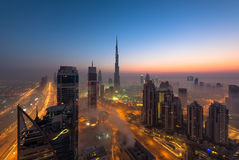 Dubai cityscape. Sunrise view of beatiful downtown area during fog Royalty Free Stock Photography