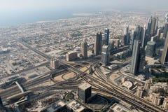 Dubai. Cloverleaf interchange seen from Burj Khalifa Stock Image