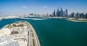 Dubai Coast. Aerial view of Jemeirah Palm Stock Images