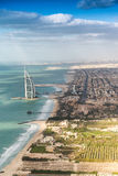 Dubai coastline from the air Stock Photography